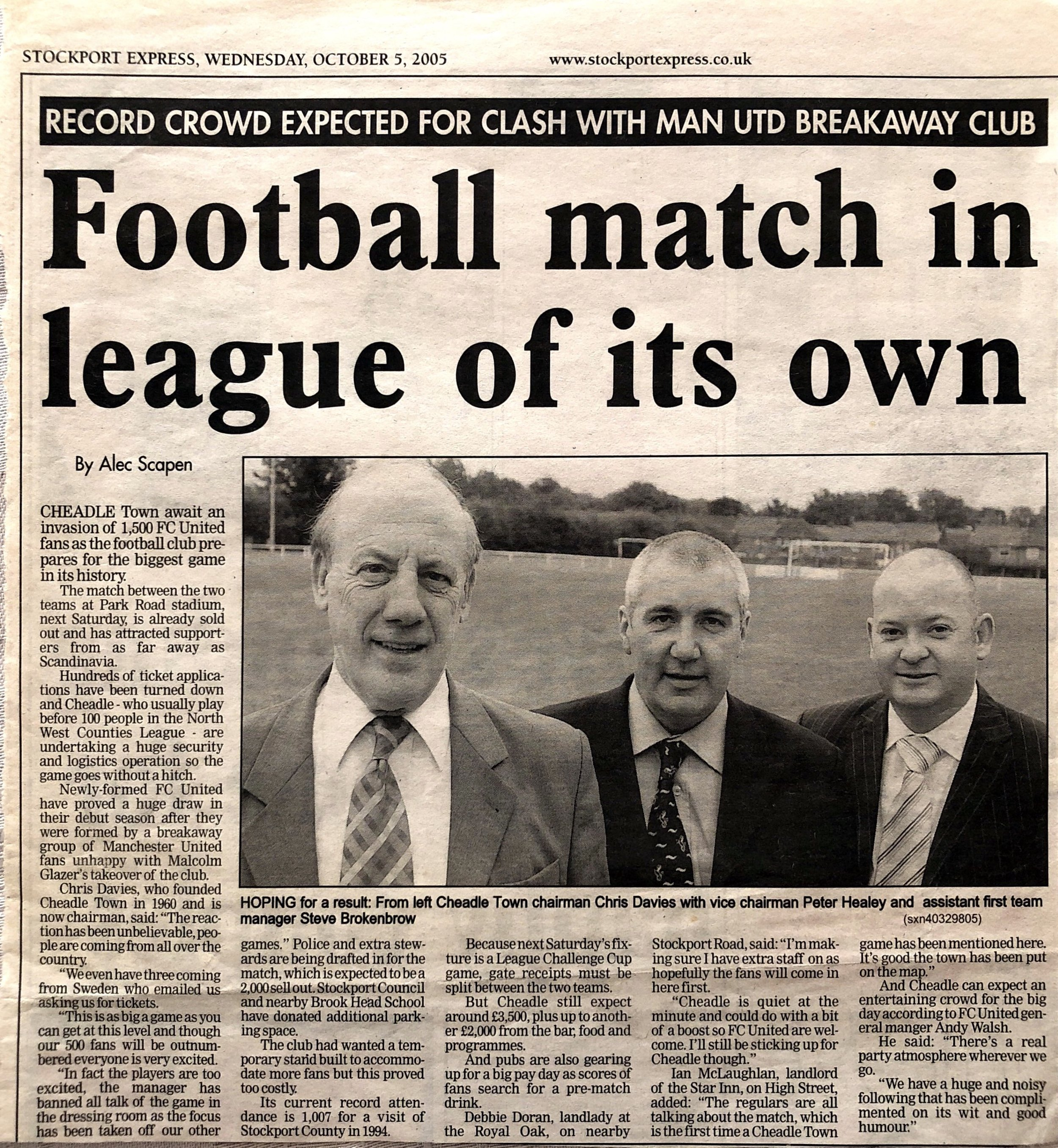 We're all excited about the impending match vs FC United in the 2005-06 season.