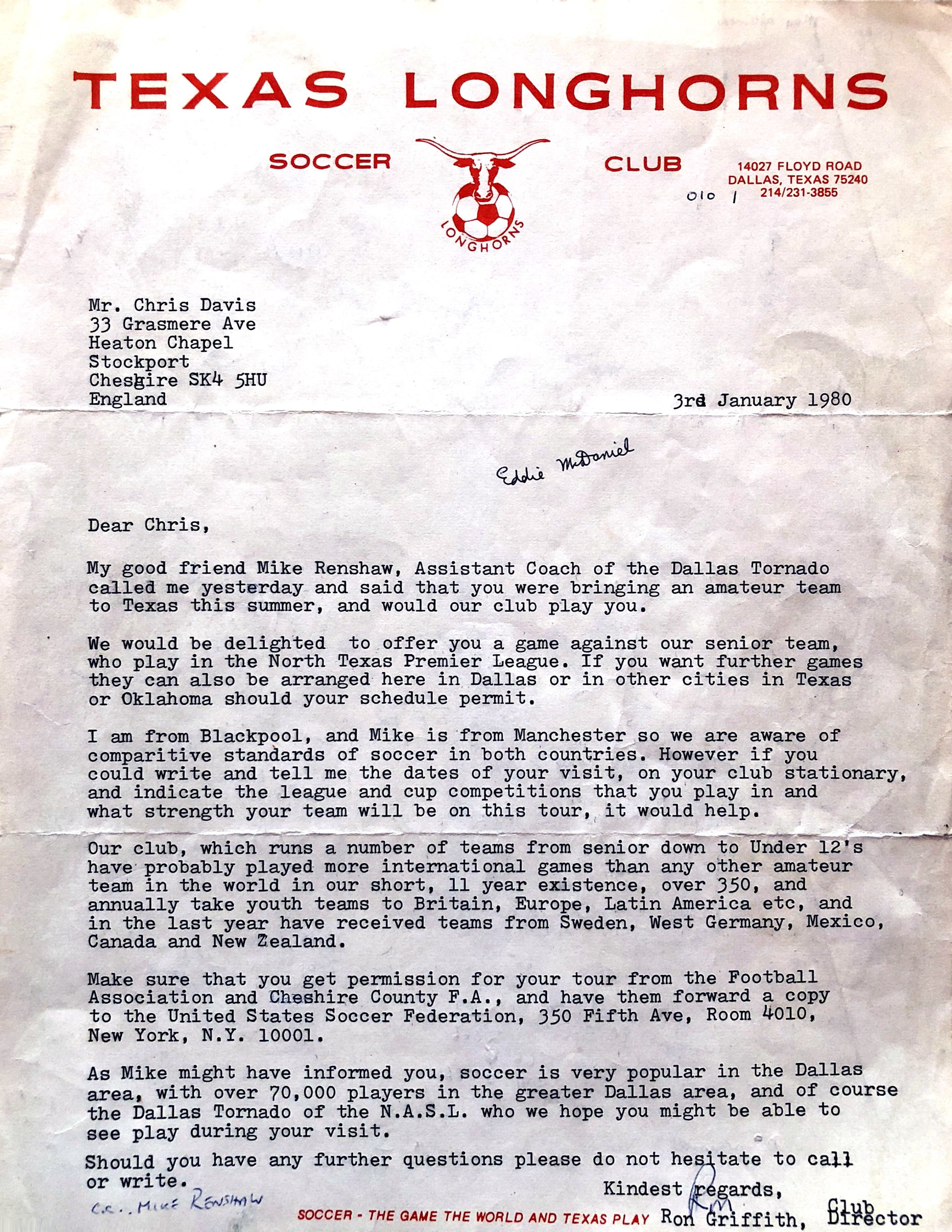 A letter from Texas Longhorns in 1980 inviting the club to play a friendly.