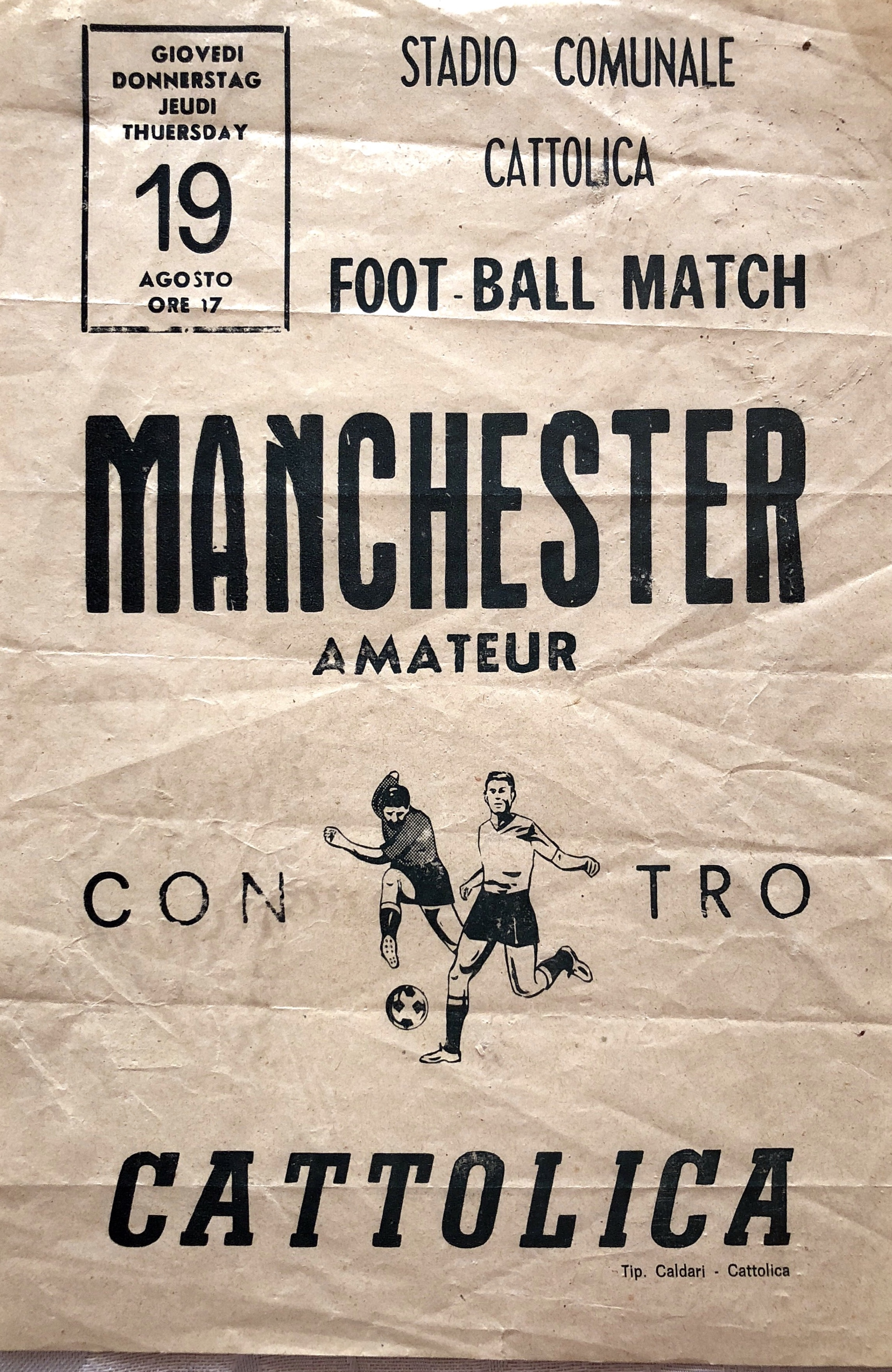 A poster for a match vs Catolica.
