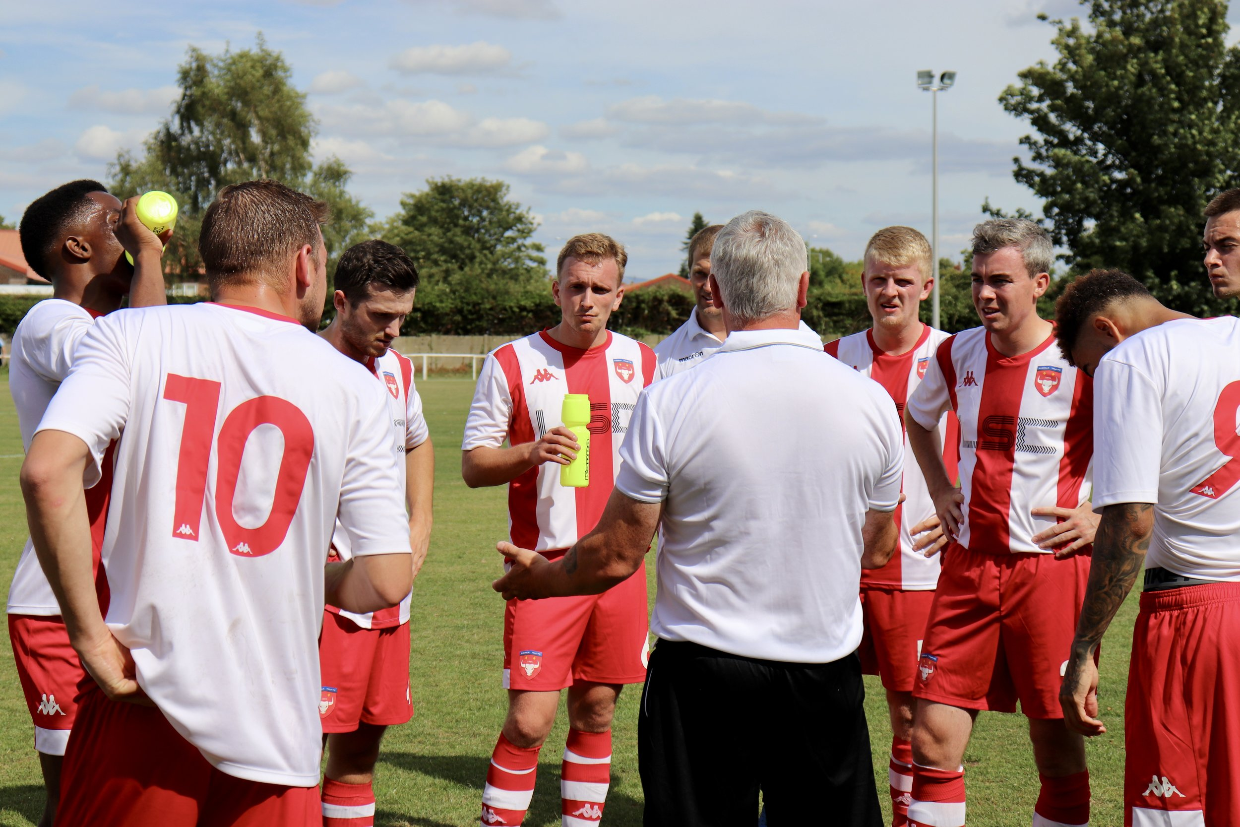 A drinks break midway through the first-half (yes, it was that warm!) gives Antony Trucca the chance to get his point across