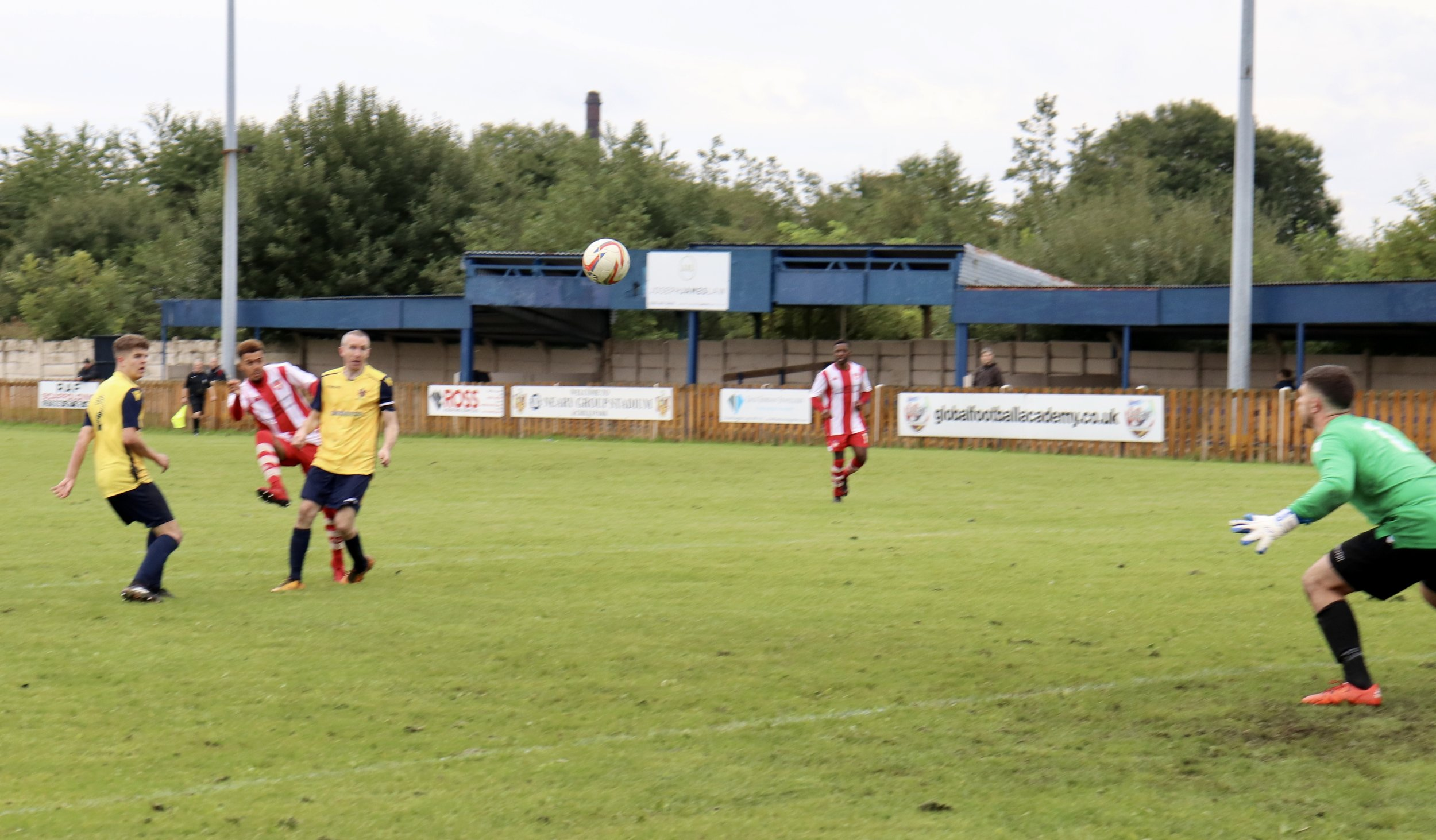 Rhys Webb curls it home for Cheadle's fourth of the match