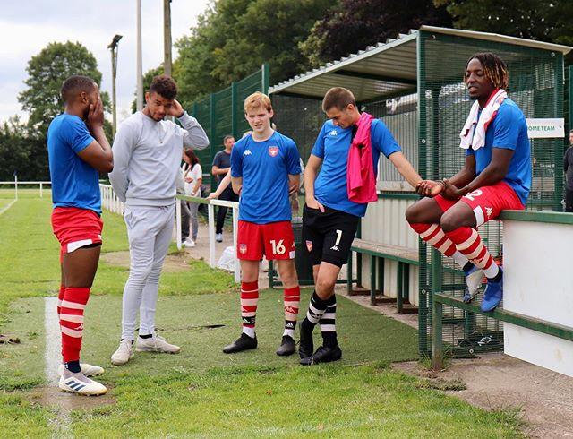v Buxton (h), 13-07-19 Pre-match, where the subs' bench are deep in discussion and two of our sponsors and match day mascots join in with proceedings.