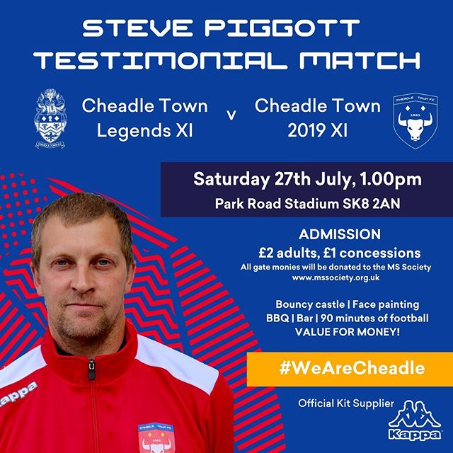 We have a special occasion at Park Road this weekend. To celebrate the years of playing, coaching and everything else in-between that Steve Piggott has given the club, we are having a Testimonial Match. Full details in the attached graphic. #WeAreCheadle