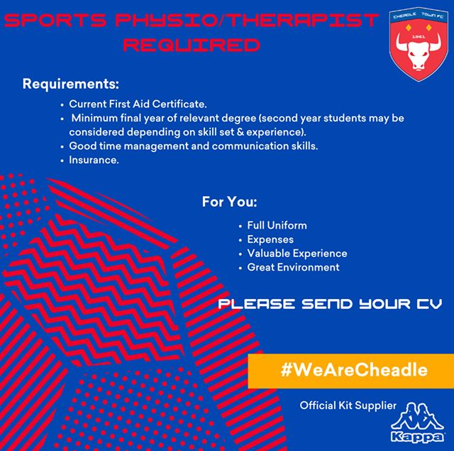 We're recruiting for a Sports Physio/Therapist to provide training & matchday cover both home/away in the NWCFL.   The candidate will attend training sessions on a Tues & Thurs evening whilst providing matchday support on a Saturday afternoon.  Apply: hello@cheadletown.co.uk