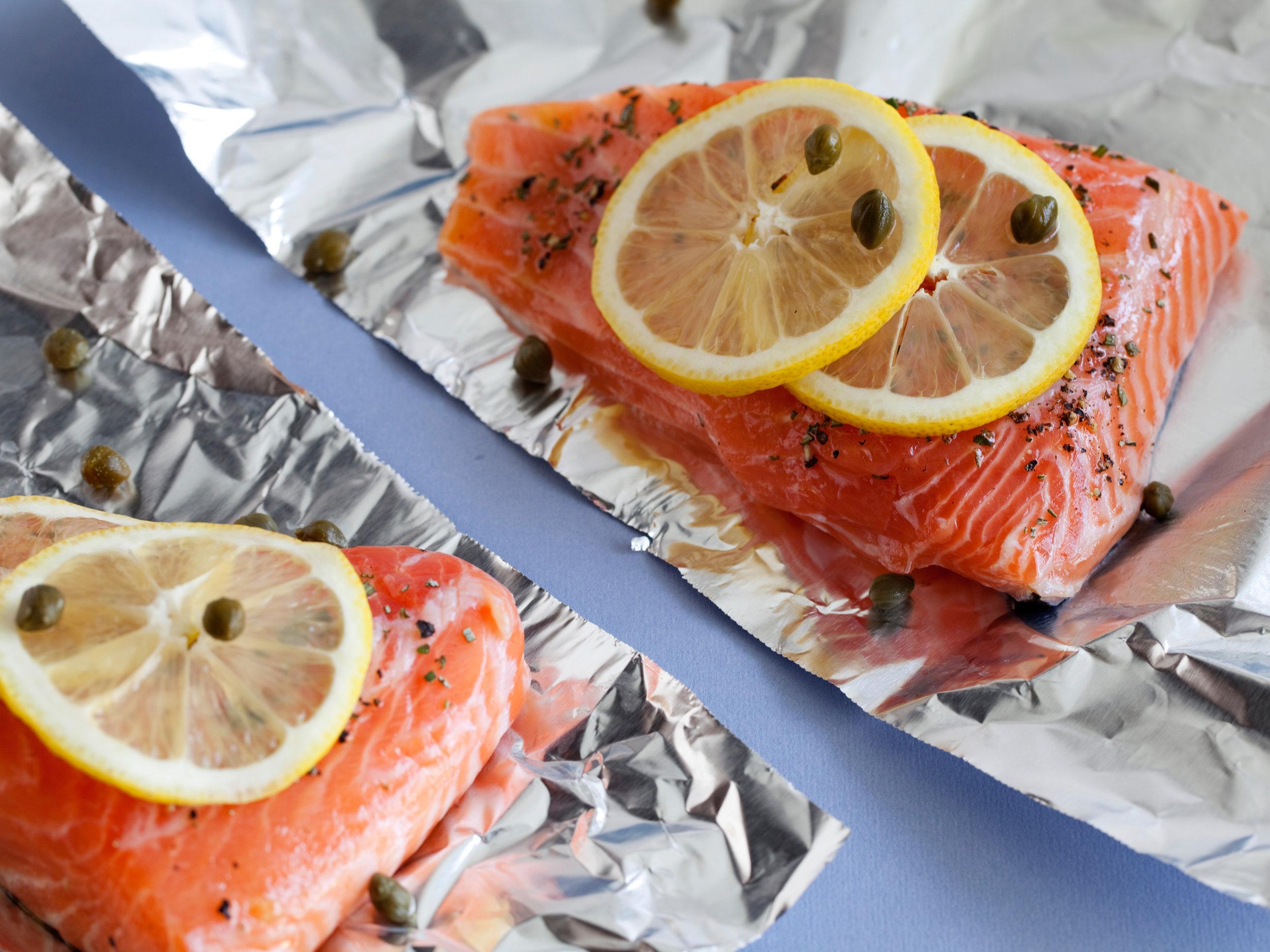 Giada's Salmon with Lemon, Capers & Rosemary
