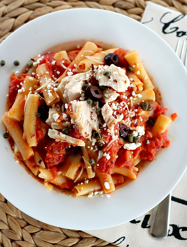 Penne with Tomatoes, Olives & Two Cheeses