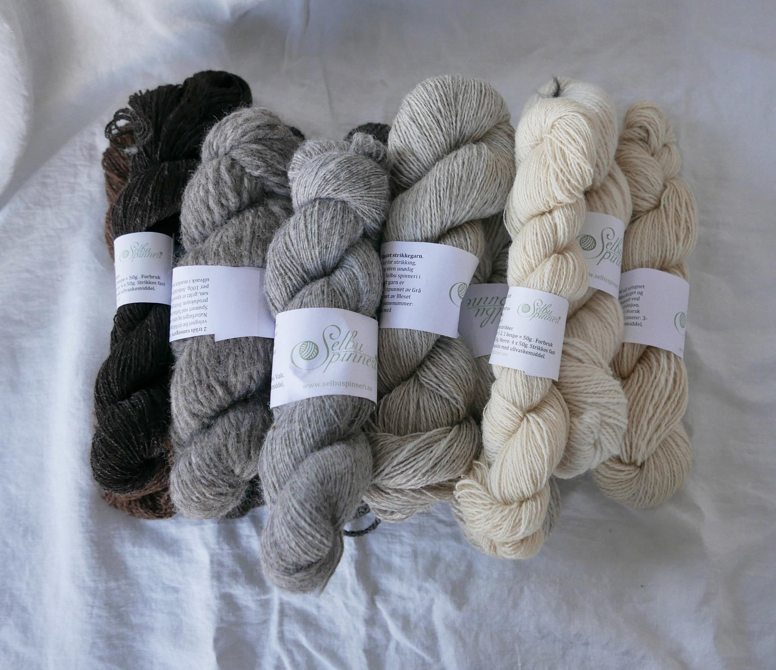 Spesielt utvalgt lokal ull velegnet for strikking, hekling og veving.