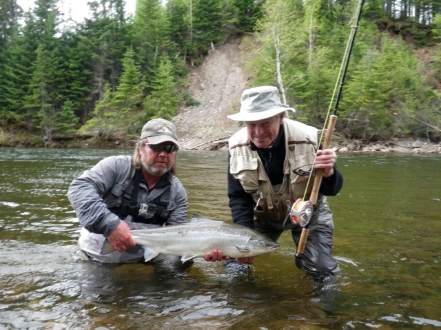 Charles Dewhurst with a nice fresh Grand Cascapedia salmon, Congratulations Charles.