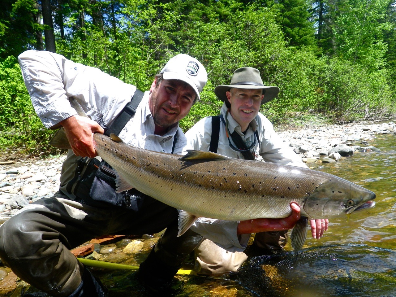 Salmon Lodge regular Brian Spence with Salmon Lodge guide Pat Trudel. A fineGrand Cascapedia beauty!, Congratulations Brian!