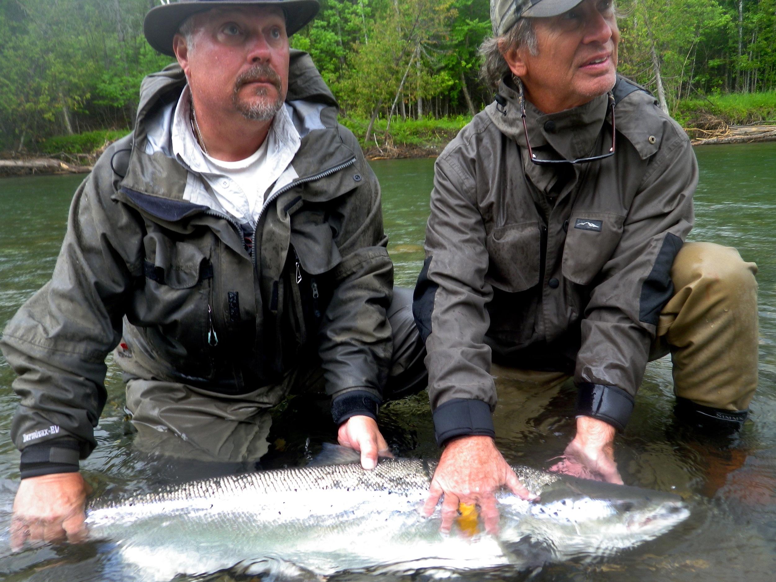 Jim Sanfillipo and Salmon Lodge guide Yvan Bernard, congratulations Jim, what a great fish!