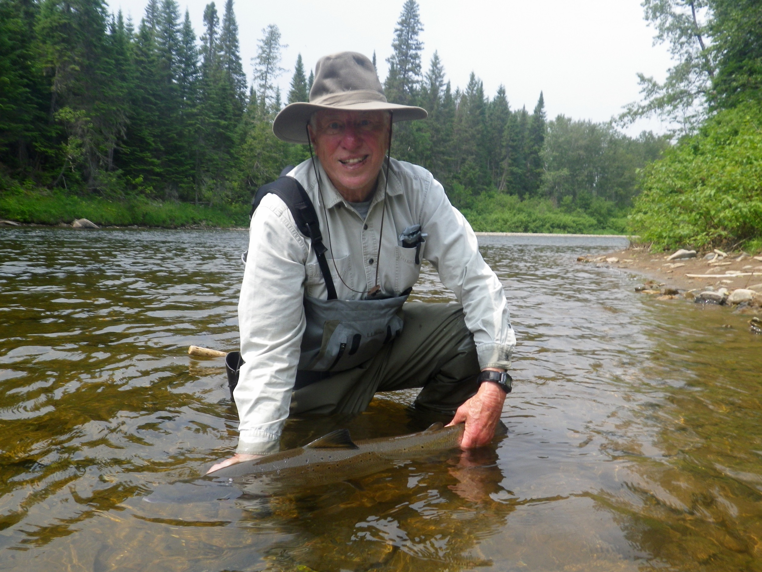 Dave Oxley with his first Grand Cascapedia salmon of 2015, it wasn't his last, Congratulations Dave!
