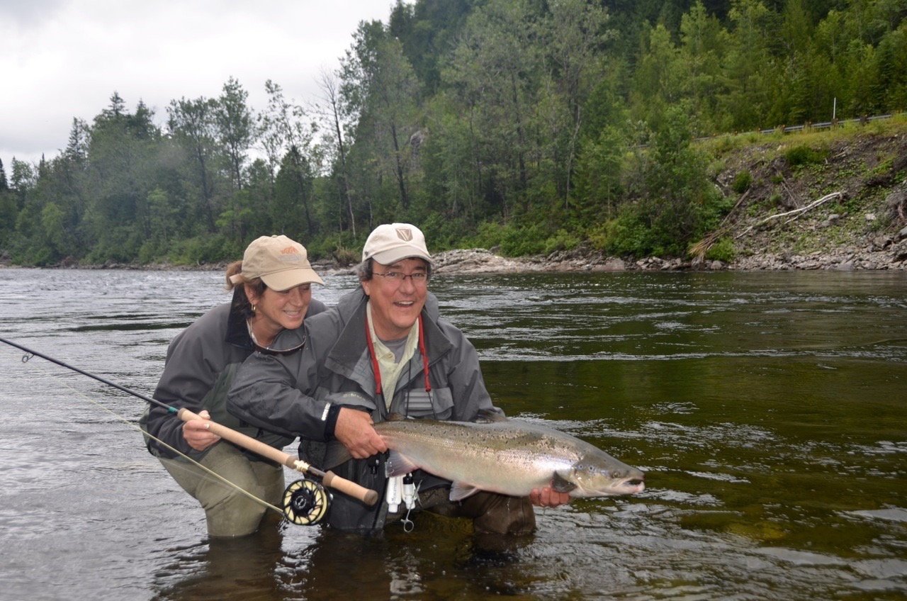Salmon Lodge regulars Pierre and Diane with their first Grand Cascapedia salmon of 2015, Congratulations !