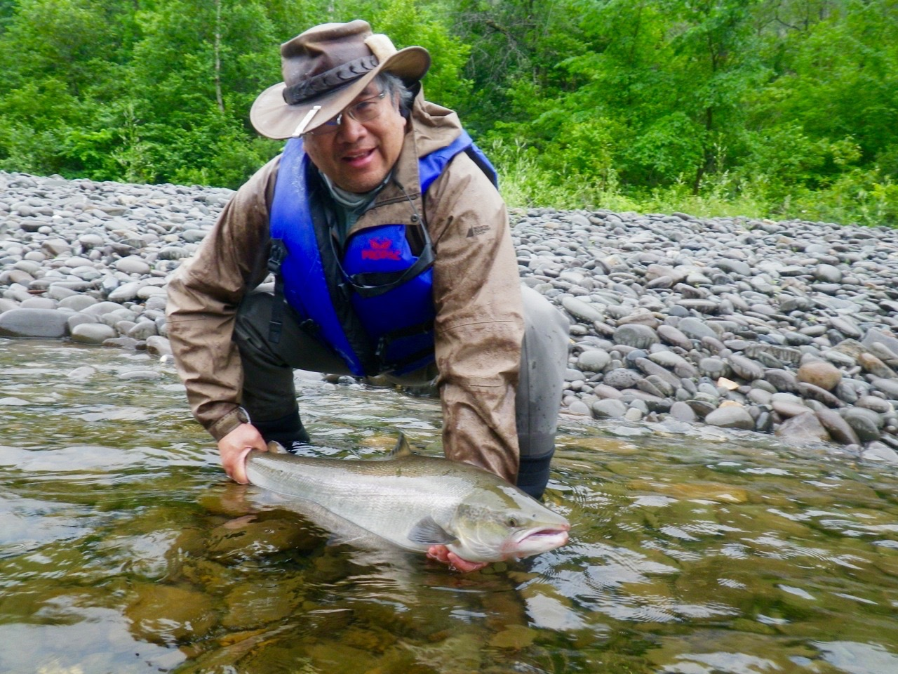James Fong from Vancouver with his first Grand Cascapedia Salmon, way to go James.