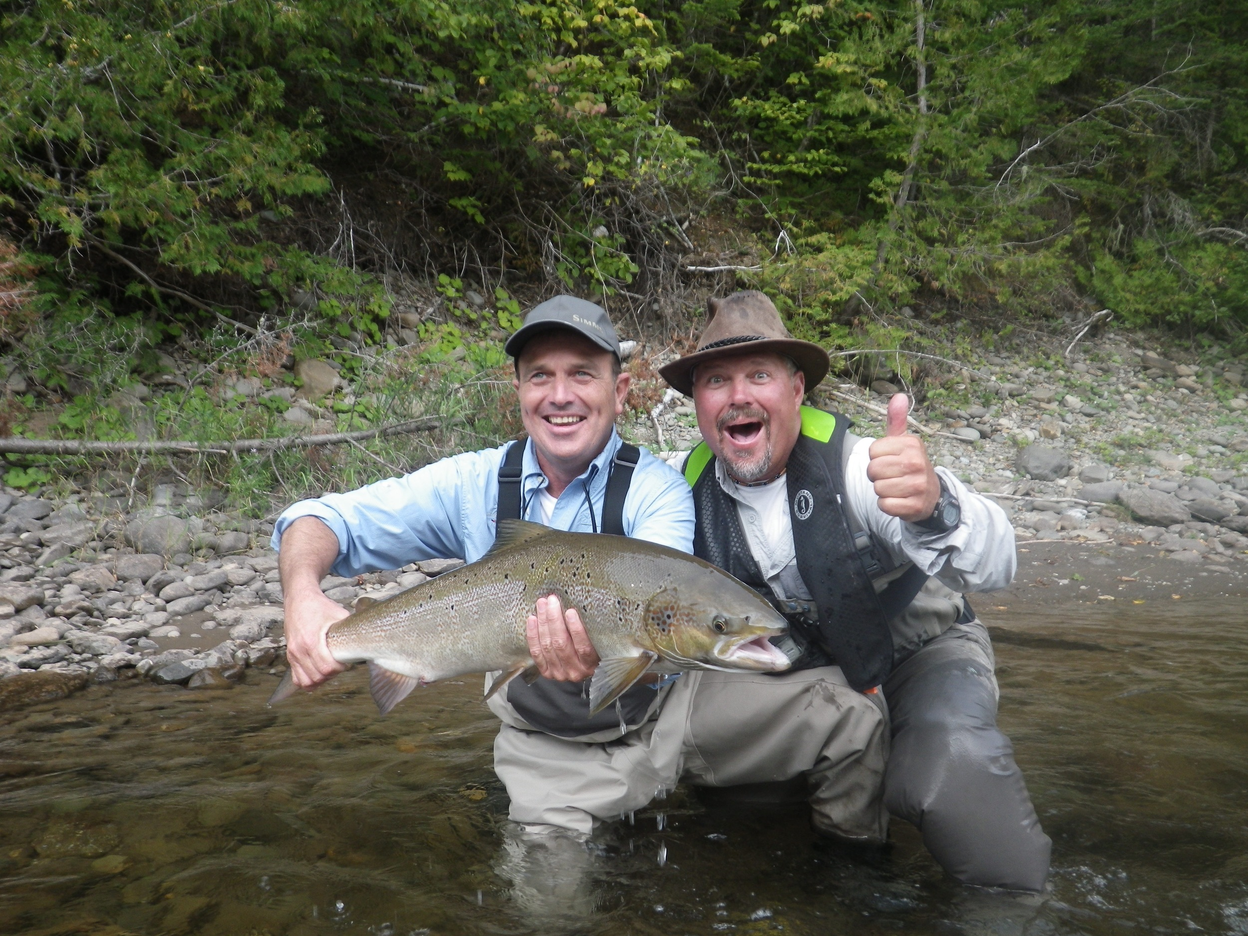 Claude Lachance and Salmon Lodge guide Yvan Bernard with a nice Cascapedia salmon, Congratulations Claude.