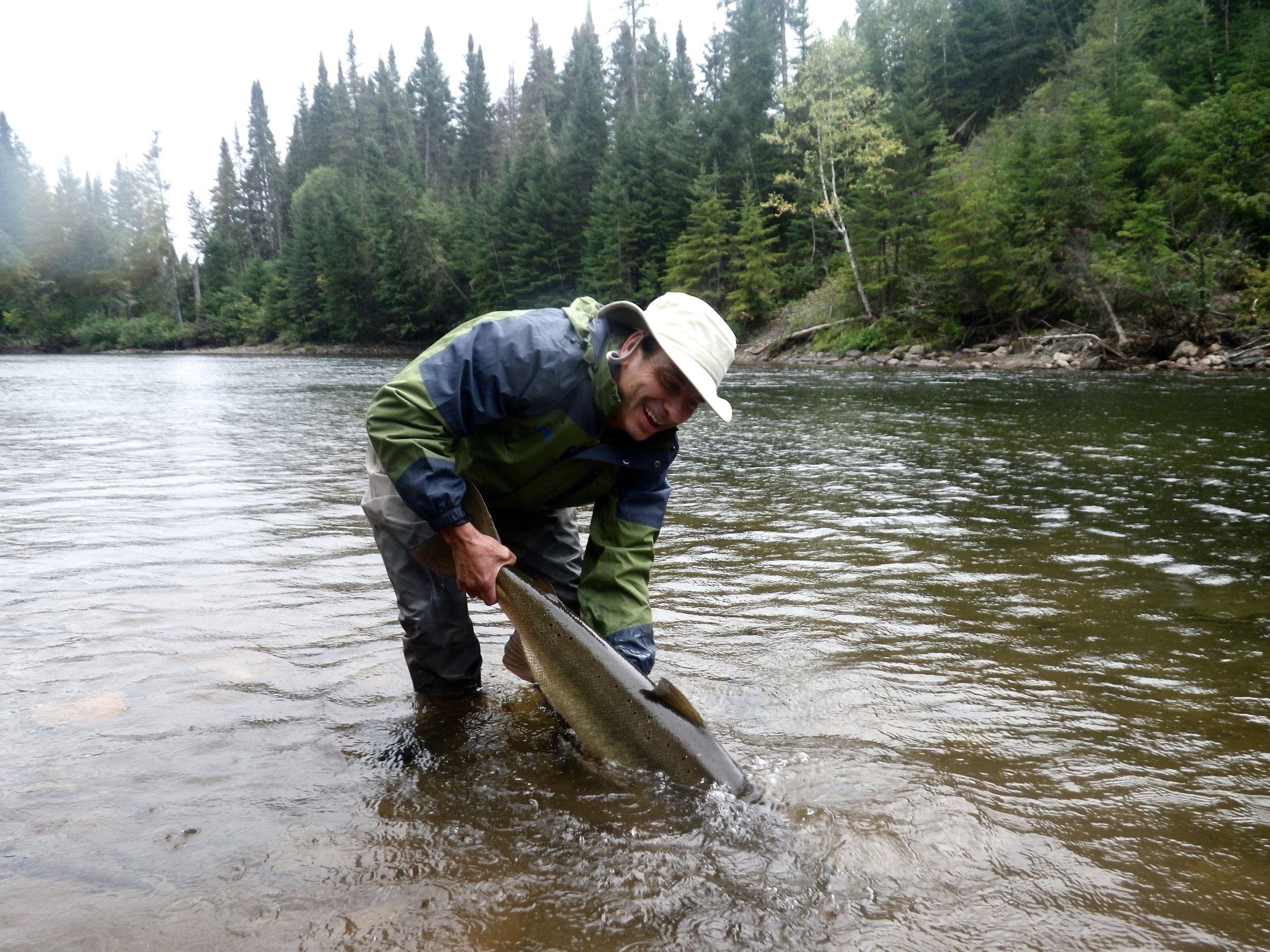 Eric Czech with his first salmon from the Grand Cascapedia, a nice 30 pounder!