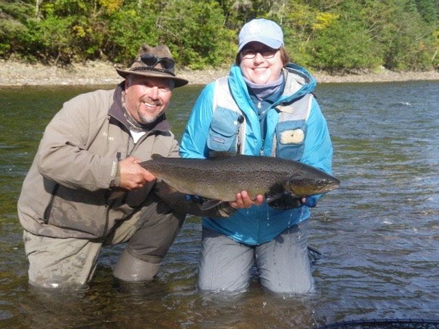 Laura Stewart and Salmon Lodge Guide Yvan Bernard, nice Grand Cascapedia salmon Laura!
