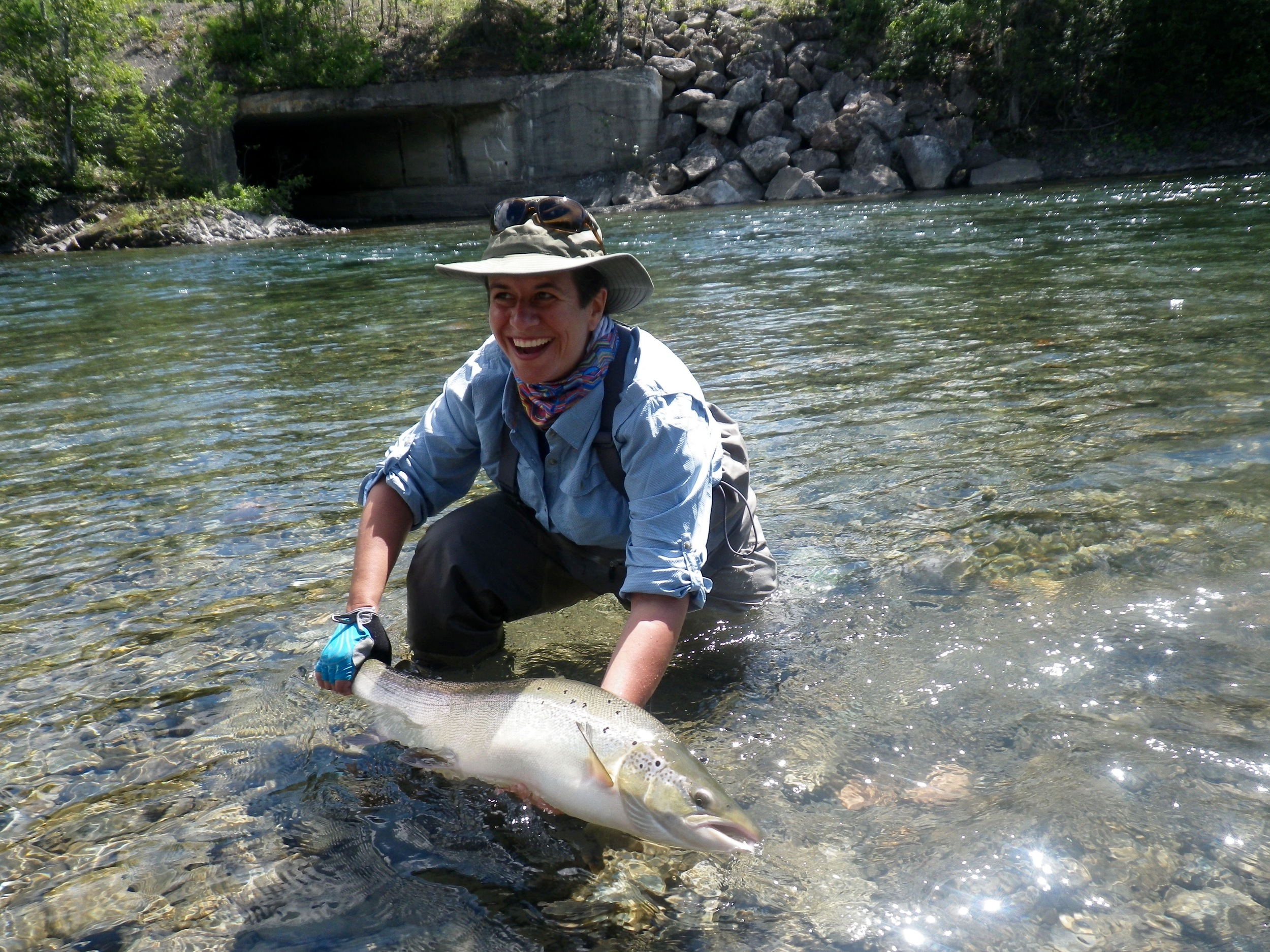 Andrea Freedman with a nice salmon from the Petite Cascapedia, Congratulations Andrea!