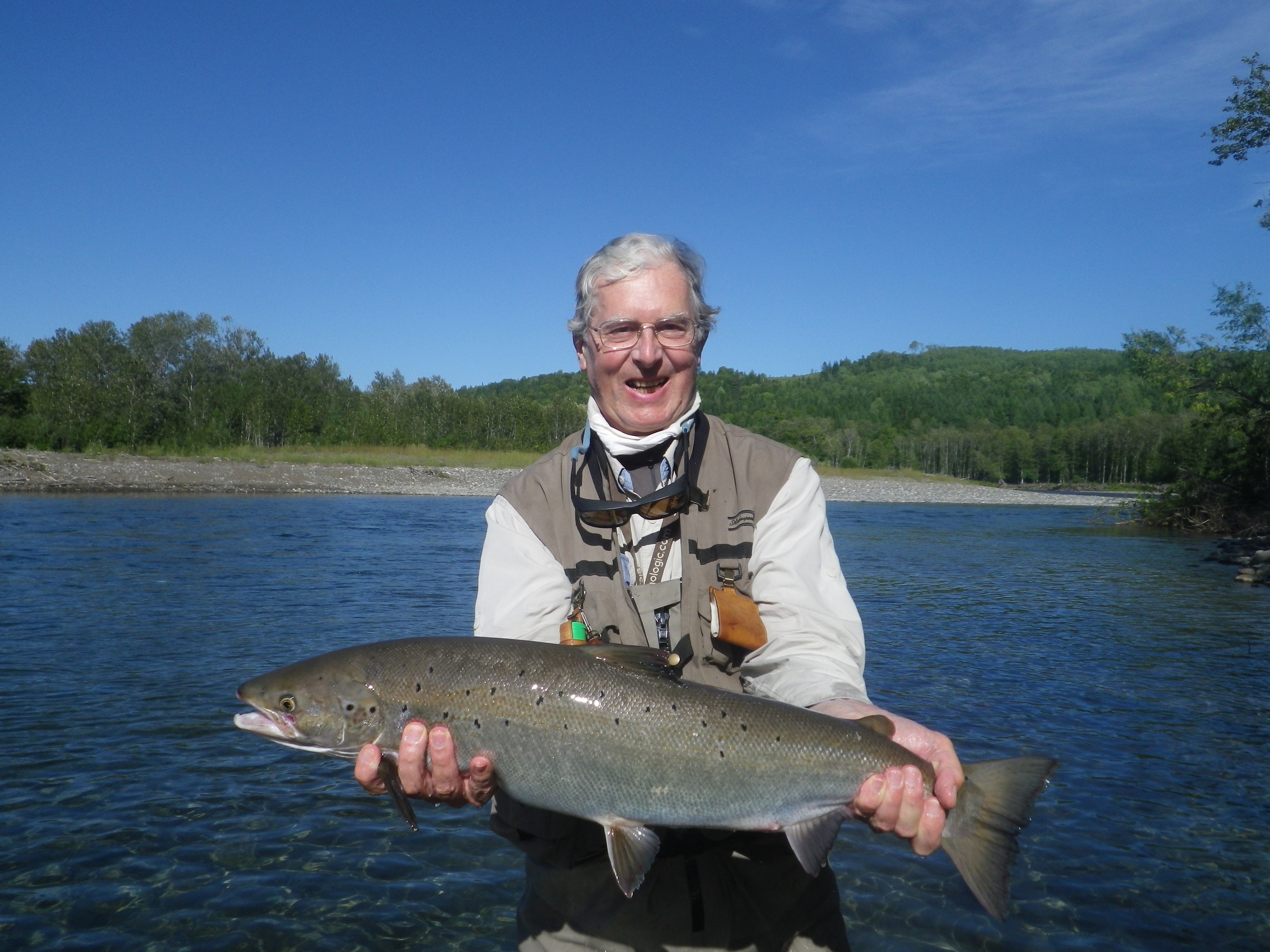 Tim Ingram with a fine salmon on the Petiote Cascapedia, nice one Tim! see you next season.