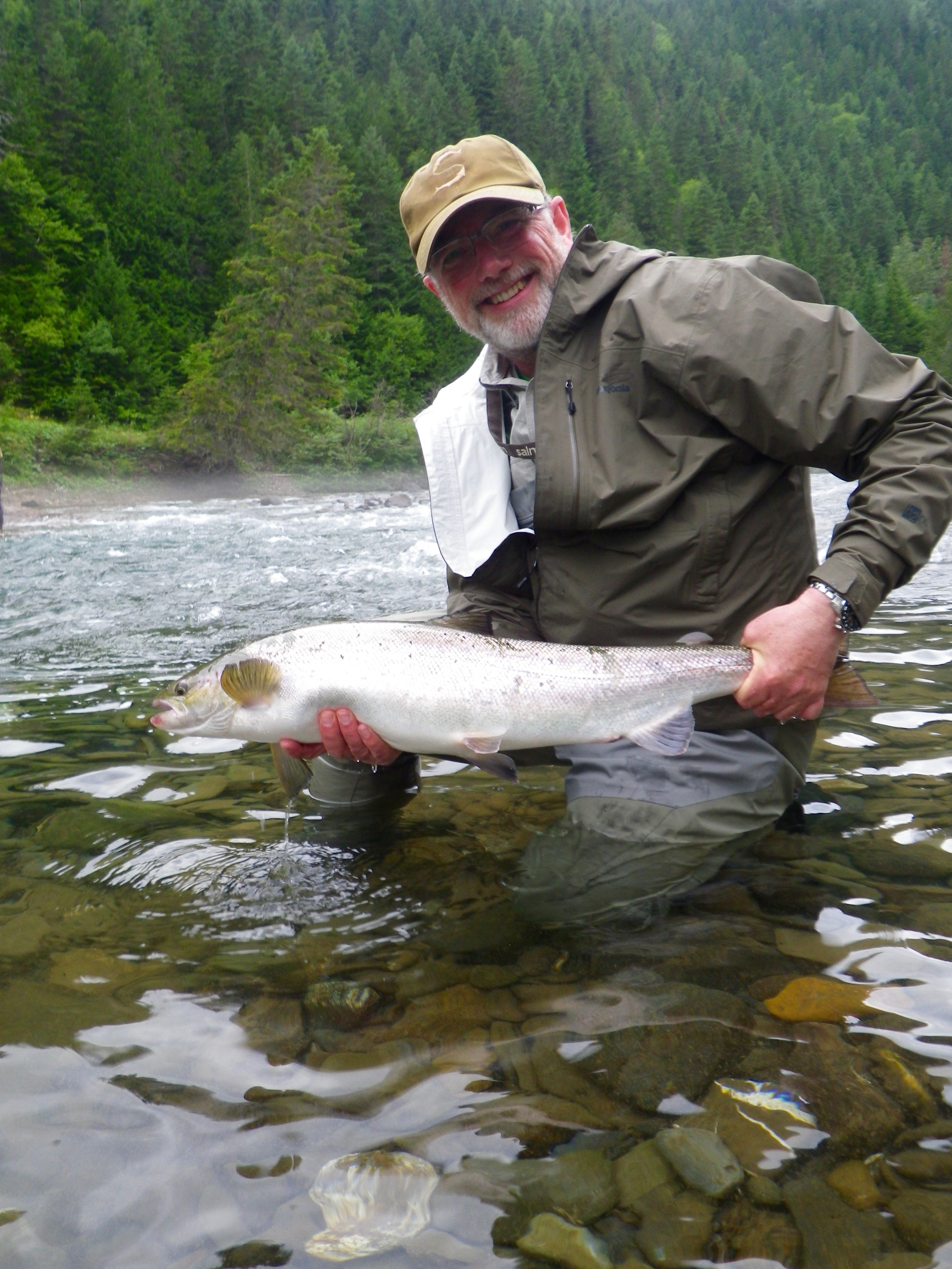 Michael Kendrick with a nice fresh run salmon on the Bonventure, Congratulations Michael!