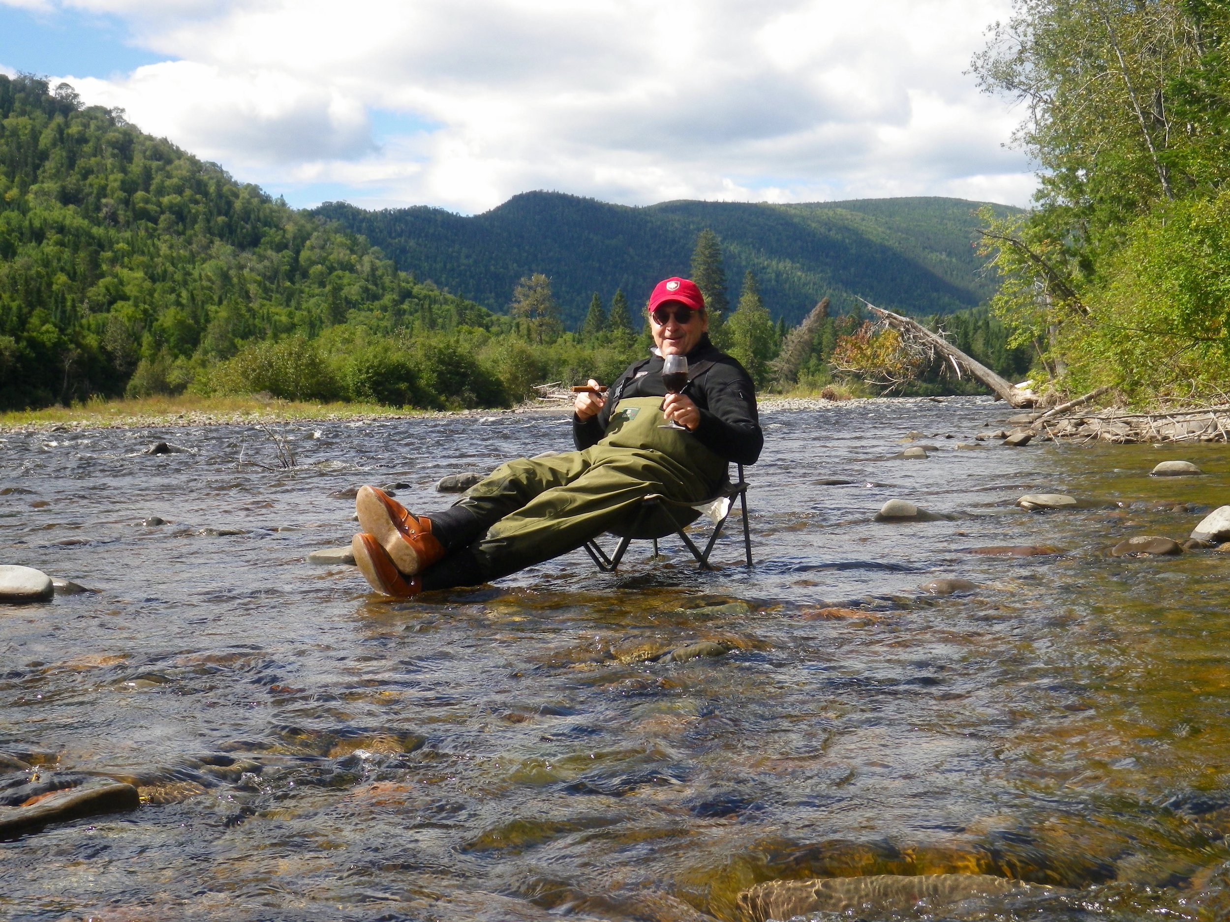 Now this is how to relax! Martin Cauchon enjoying his day on the Grand Cascapedia!