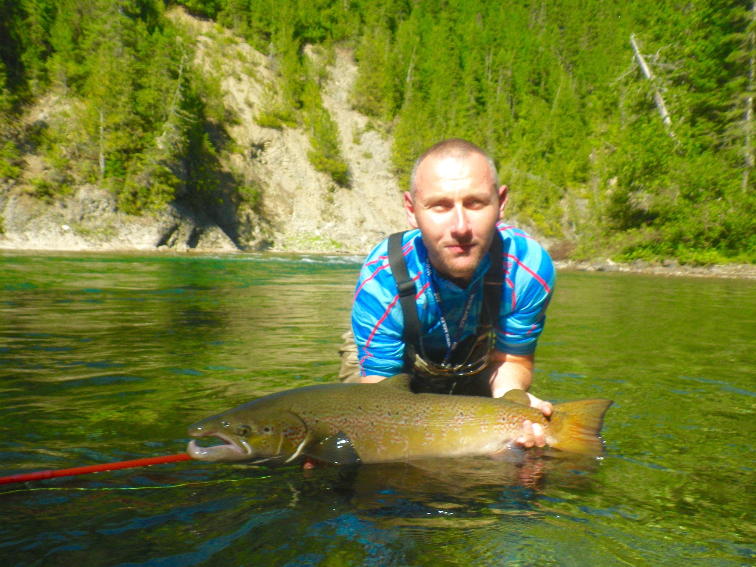 Klaus Vander with his first Canadian Atlantic salmon, congratulations Klaus!
