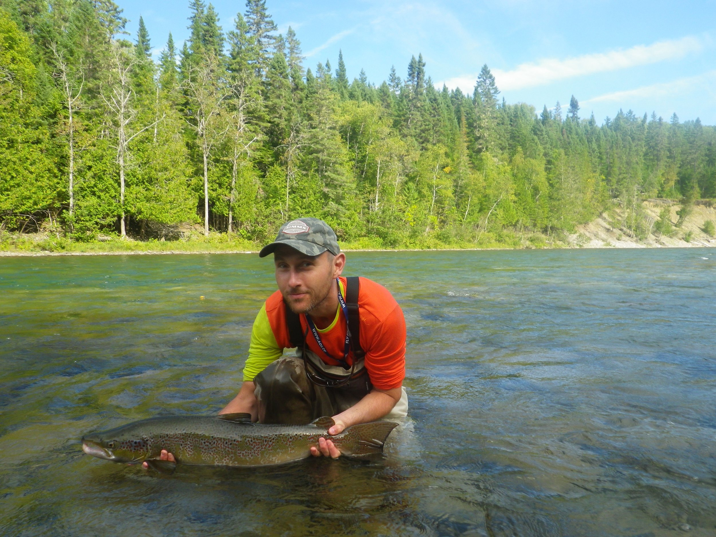 Klaus Vander lands this fine salmon on the Bonaventure, Nice salmon Klaus.