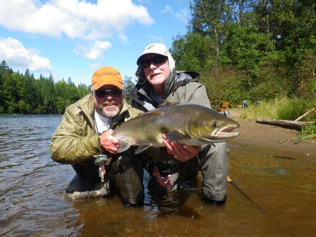 Richard Verney (Right) and Salmon Lodge guide Larry Dee with a nice fall salmon, congratulations Richard!