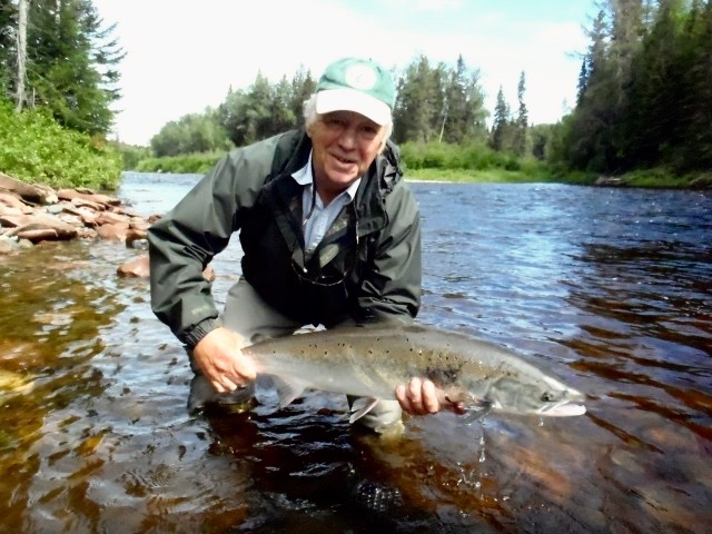Salmon Lodge regular Eddy Bulley with his first Grand Cascapedia salmon for 2017, Congratulations Eddy! see you next year.