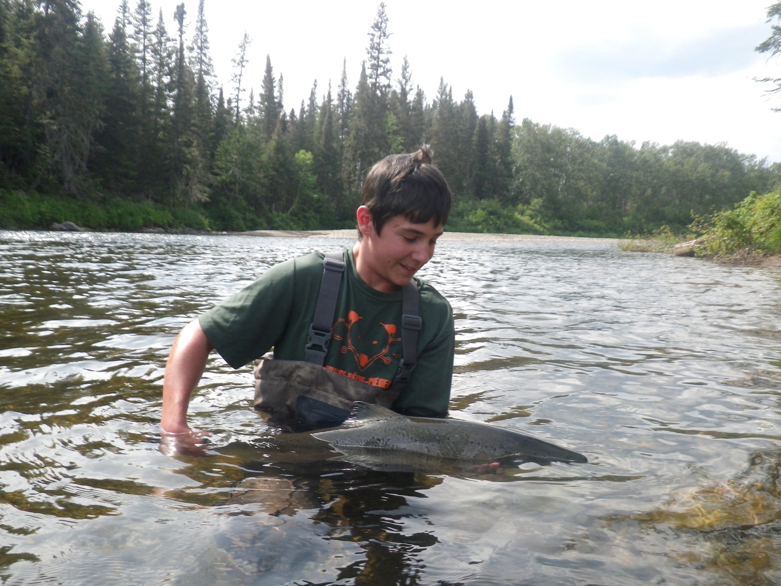 """Jerome Letourneau AKA """"KING OF THE RIVER"""" This was Jerome's first time Atlantic salmon fishing, three days three salmon! way to go Jerome!"""