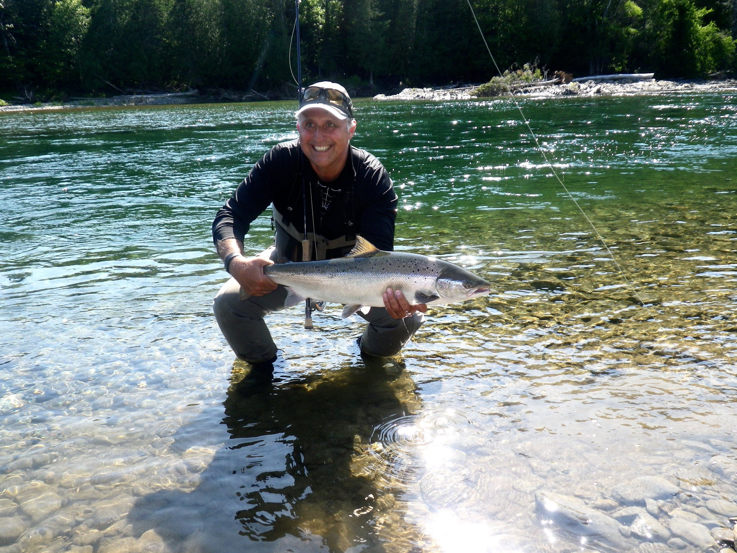 Long time Salmon Lodge guest Luc Chabot with nice one on the Petite, congratulations Luc!