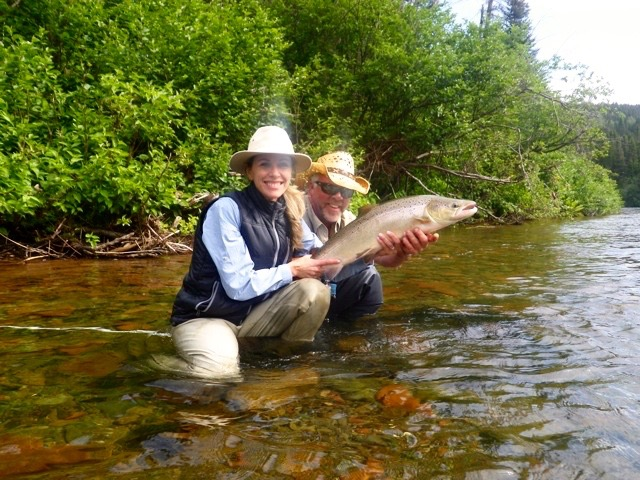 Patricia Lepage and Salmon Lodge Larry Dee, this was Patricia's first salmon, congratulations! well done.