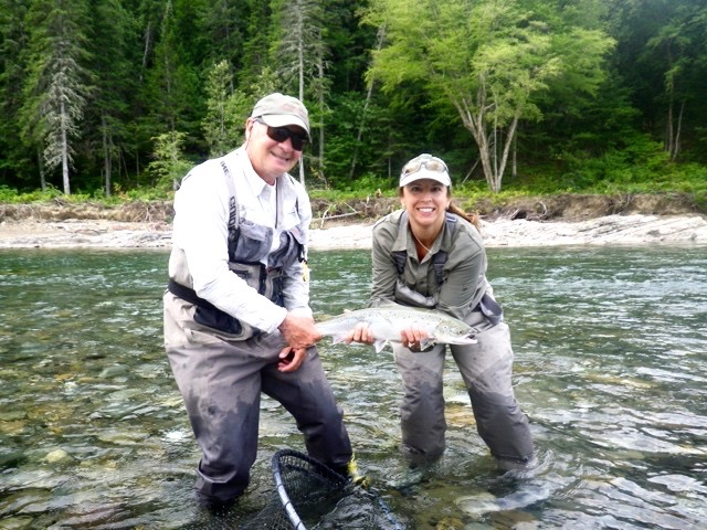 Pascale Poulin and Salmon Lodge guide Clement Bernier. This was Pascale's first Bonaventure salmon, congratulations Pascale!