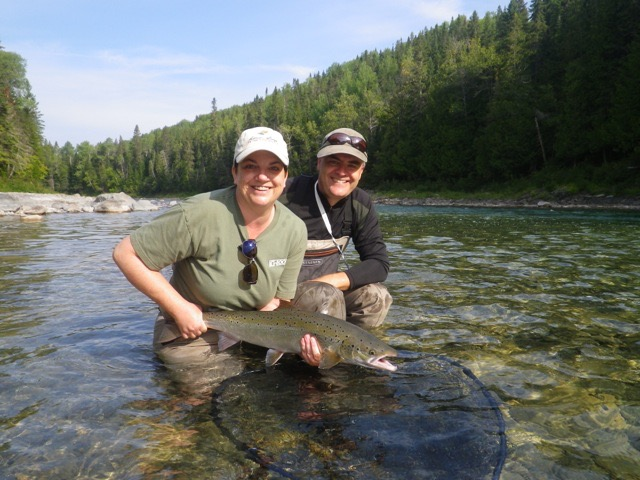 Yvonne Hoda with her first Atlantic salmon, Well done Yvonne!hope this is the first of many more.