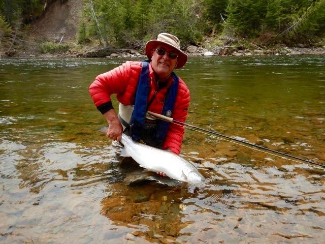 Claude Berger with a fine Grand Cascapedia salmon, Congratulations Claude, well done.