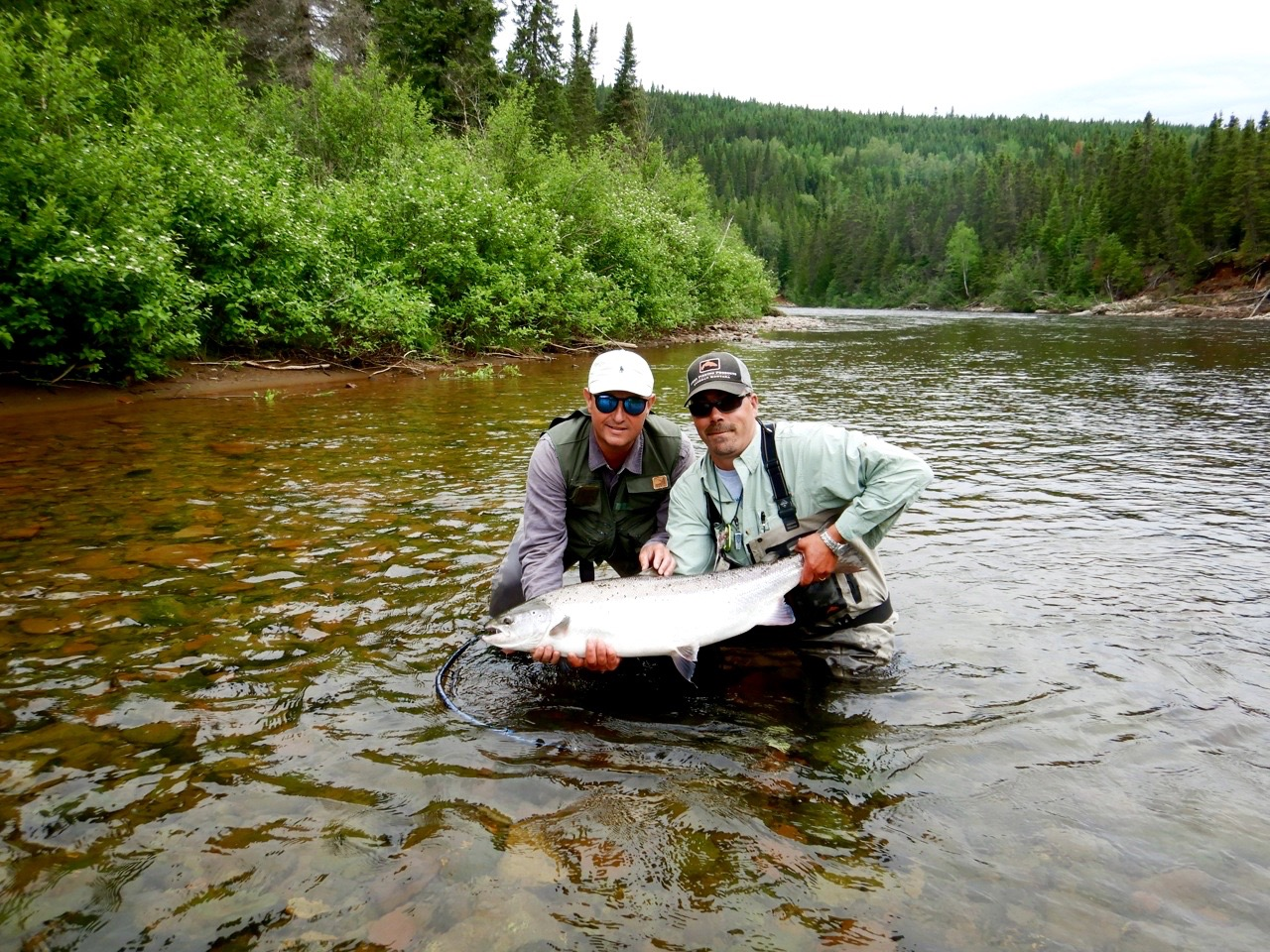 This is Arnaud Duport's  (Left) second time at Salmon Lodge, He was coached by master guide Jean Marc Clermont ,Congratulations  Arnaud!