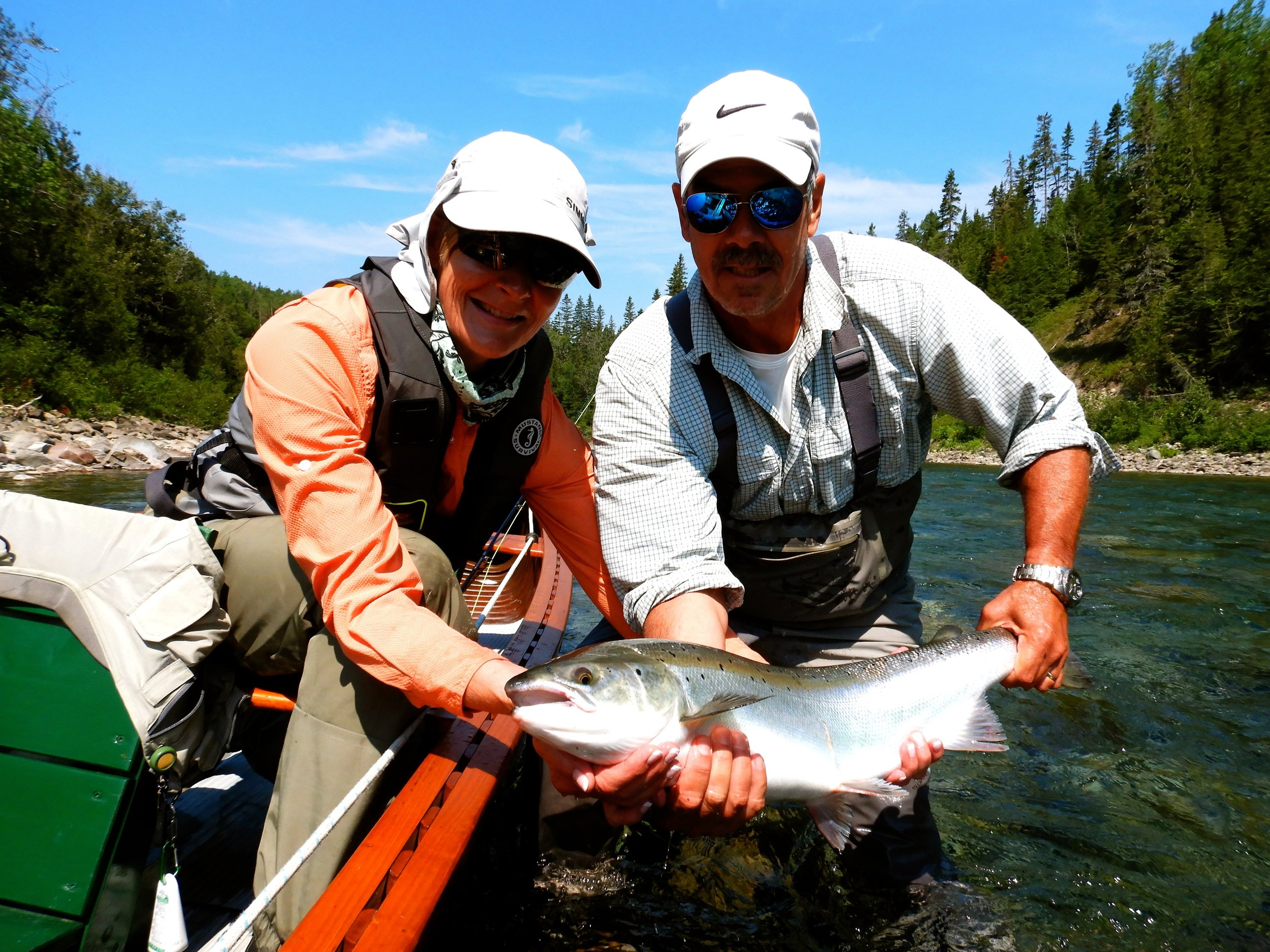 Salmon Lodge regular Steve Pelletier with his wife Jeannie on the Bonaventure, Nice one guys!