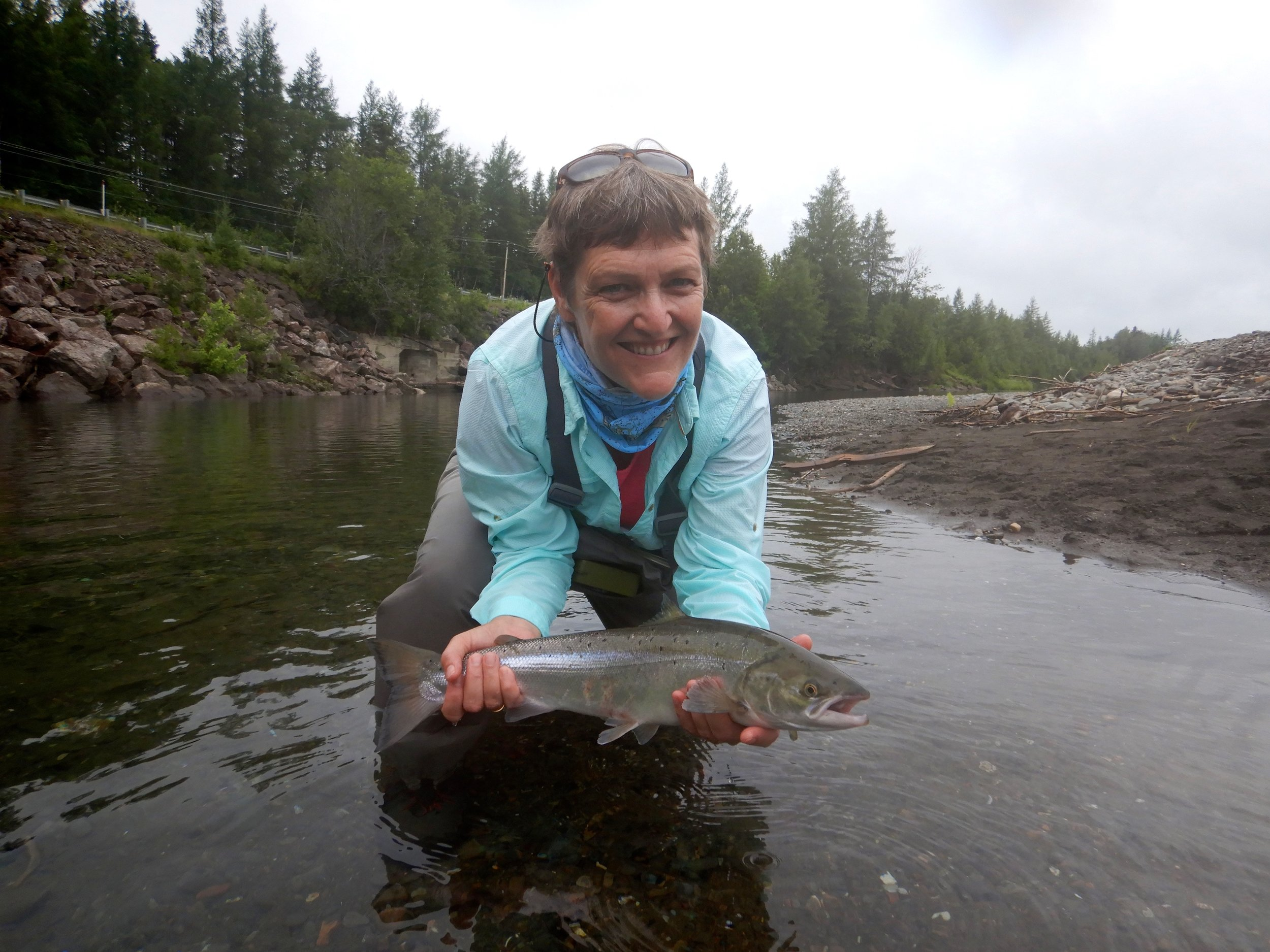 Vyvyan Burns with her first Atlantic salmon, Congradulations Vyvyan, well done!