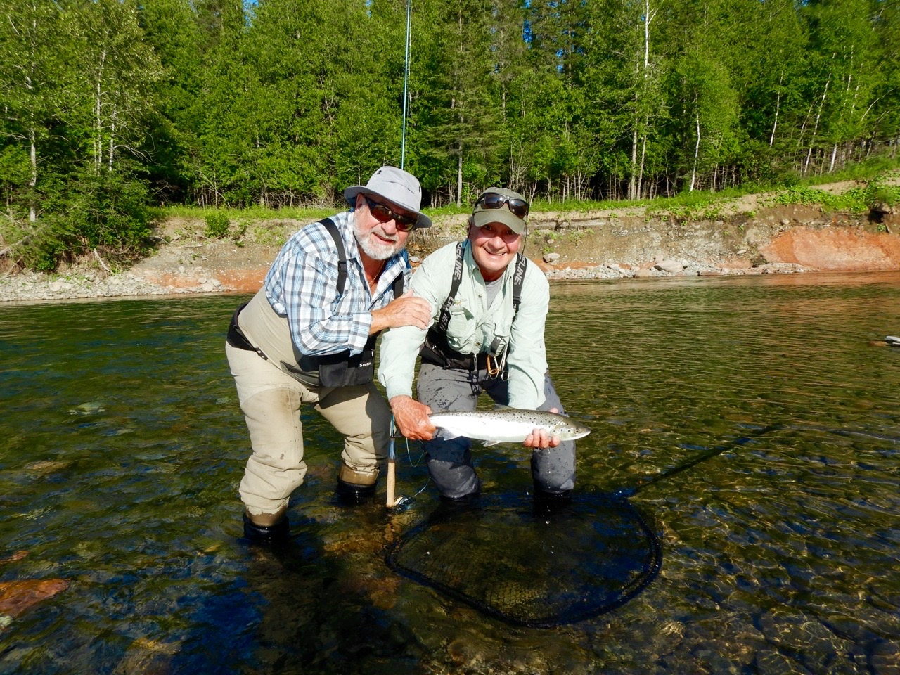 Kjell Ingebrigsten from Norway landed his first one on the Petite Cascapedia guided by Salmon Lodge guide Clement Bernier, nice grilse Kjell.