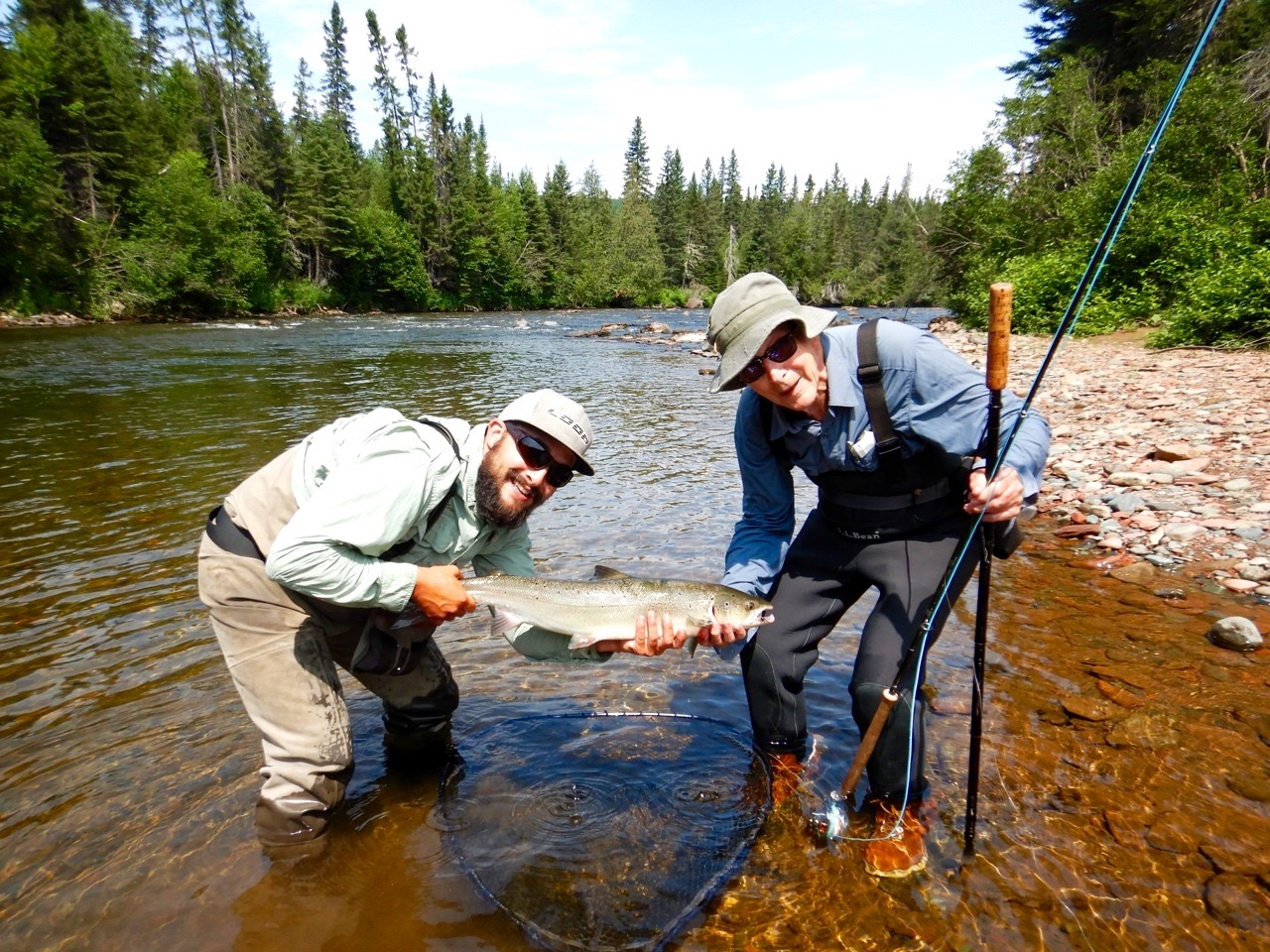 Luc Bruneau (right) with Salmon Lodge guide Alex Mallais , this was Luc's first catch of 2018, congratulations Luc!