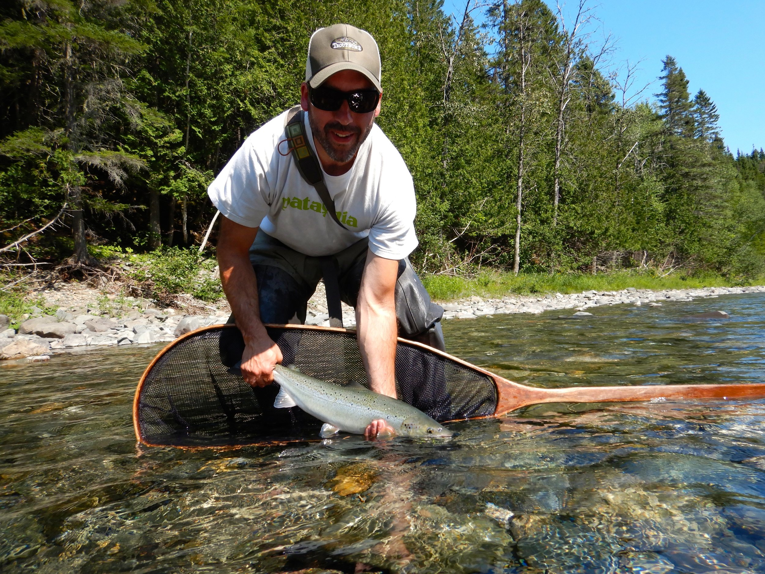 Clint Malkmus with his first Atlantic salmon, congratulations Clint!