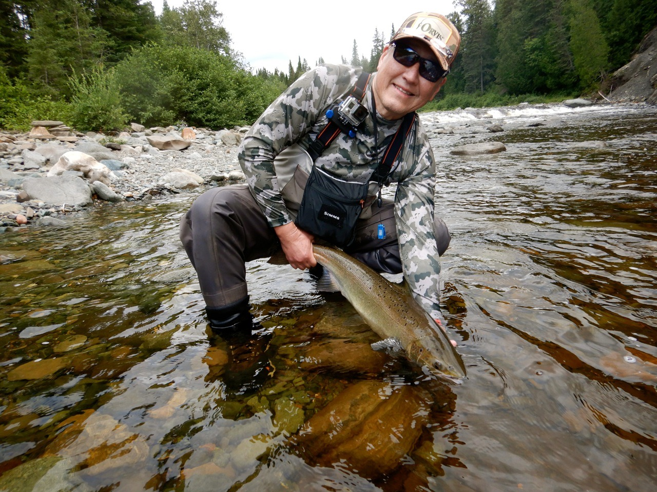 Paul Baek landed this fine salmon on the Grand Cascapedia, well Done Paul !