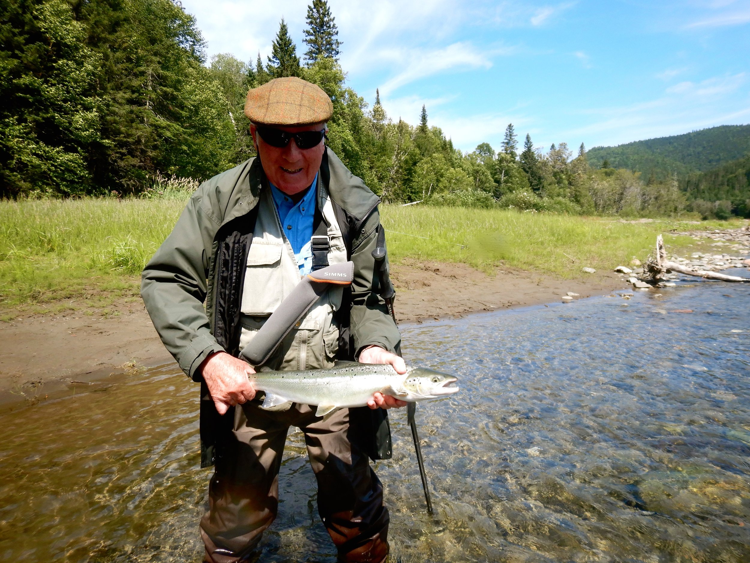 This was John Carroll's first trip to Salmon Lodge, Not the best water conditions this year John, next year will be better. Congratulations on your first salmon from Canadian waters.