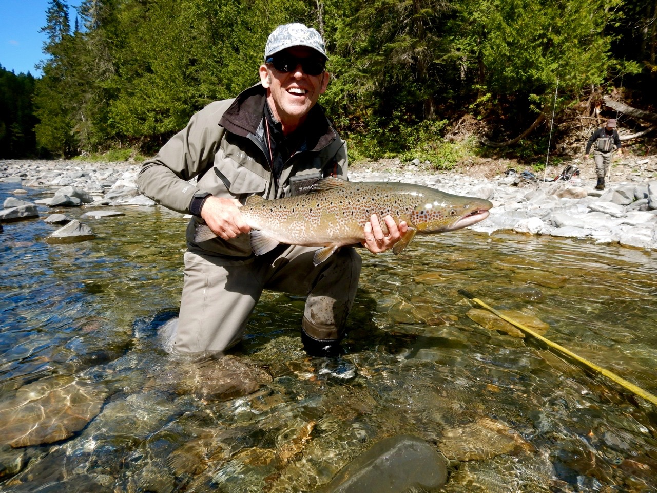Dominique Larde with his first Atlantic salmon from Canadian waters , congratulations Dominique!