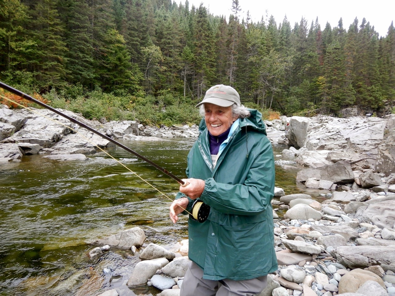 Barbara Griffin hooked up to her first Atlantic salmon, what a smile!