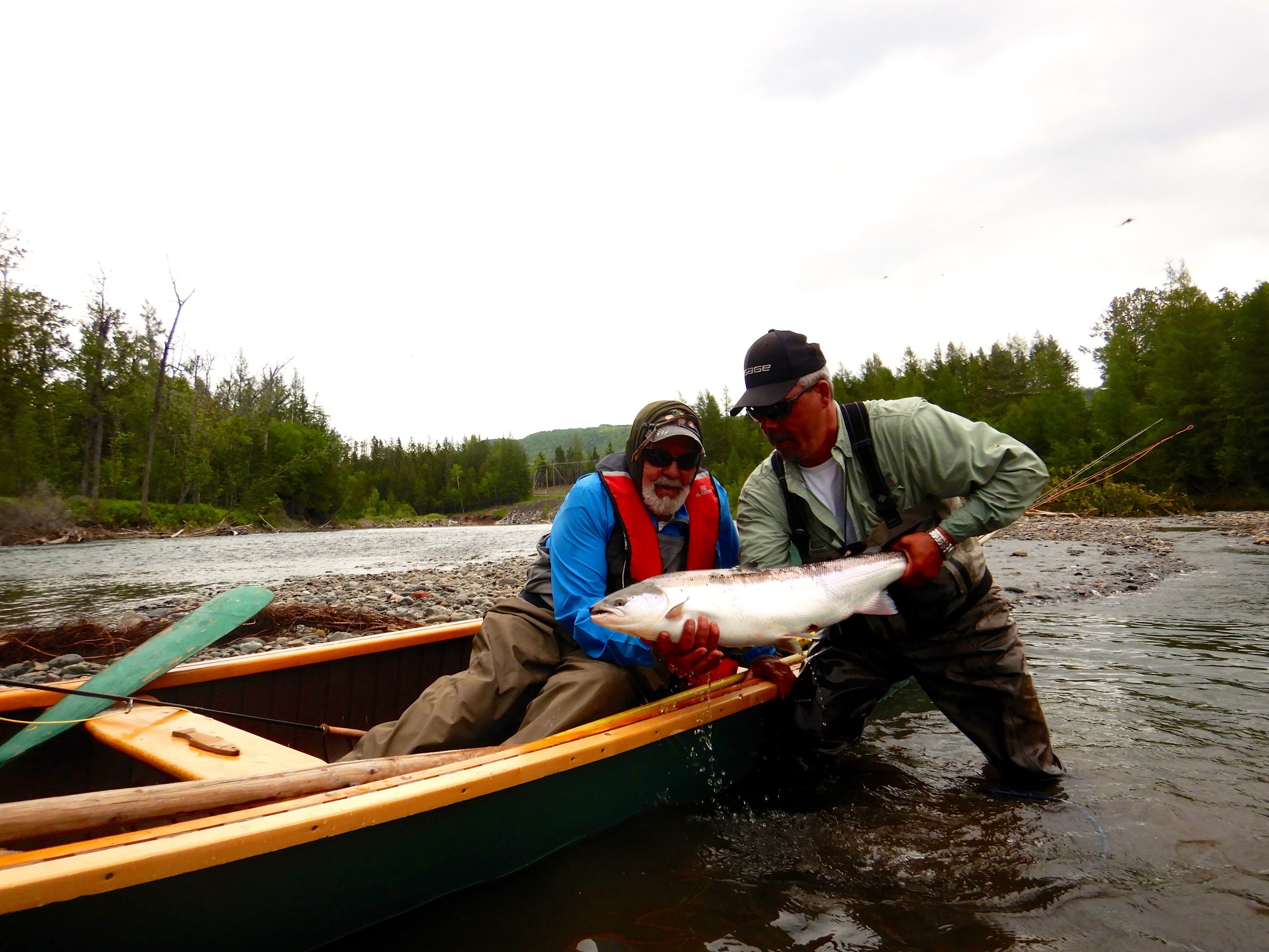 This was John Dugan's first trip to Salmon Lodge. Here he is with our master guide Jean Marc Clermont on the Bonaventure. Well done John!