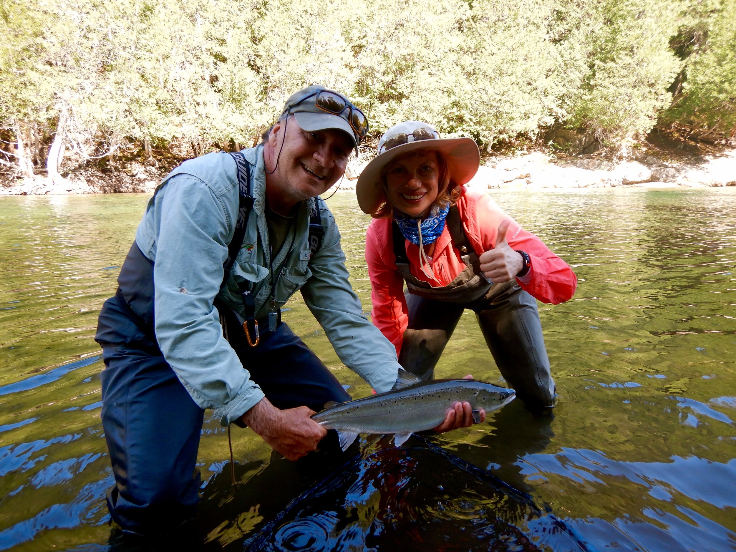 Bev Anderson and Salmon Lodge master guide Clement Bernier, nice one Bev !
