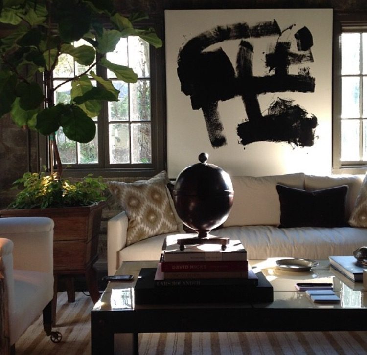"60"" x 60"" Black and white commissioned for Atlanta Symphony Showhouse."