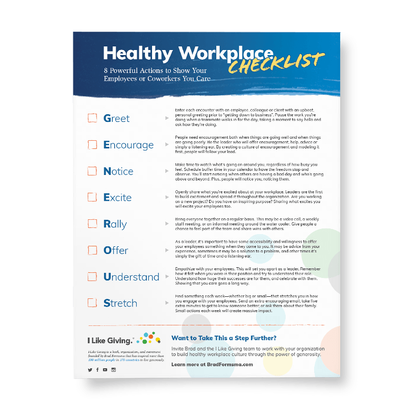 Show your employees or coworkers you care with the Healthy Workplace Checklist. - Get Your Free Copy