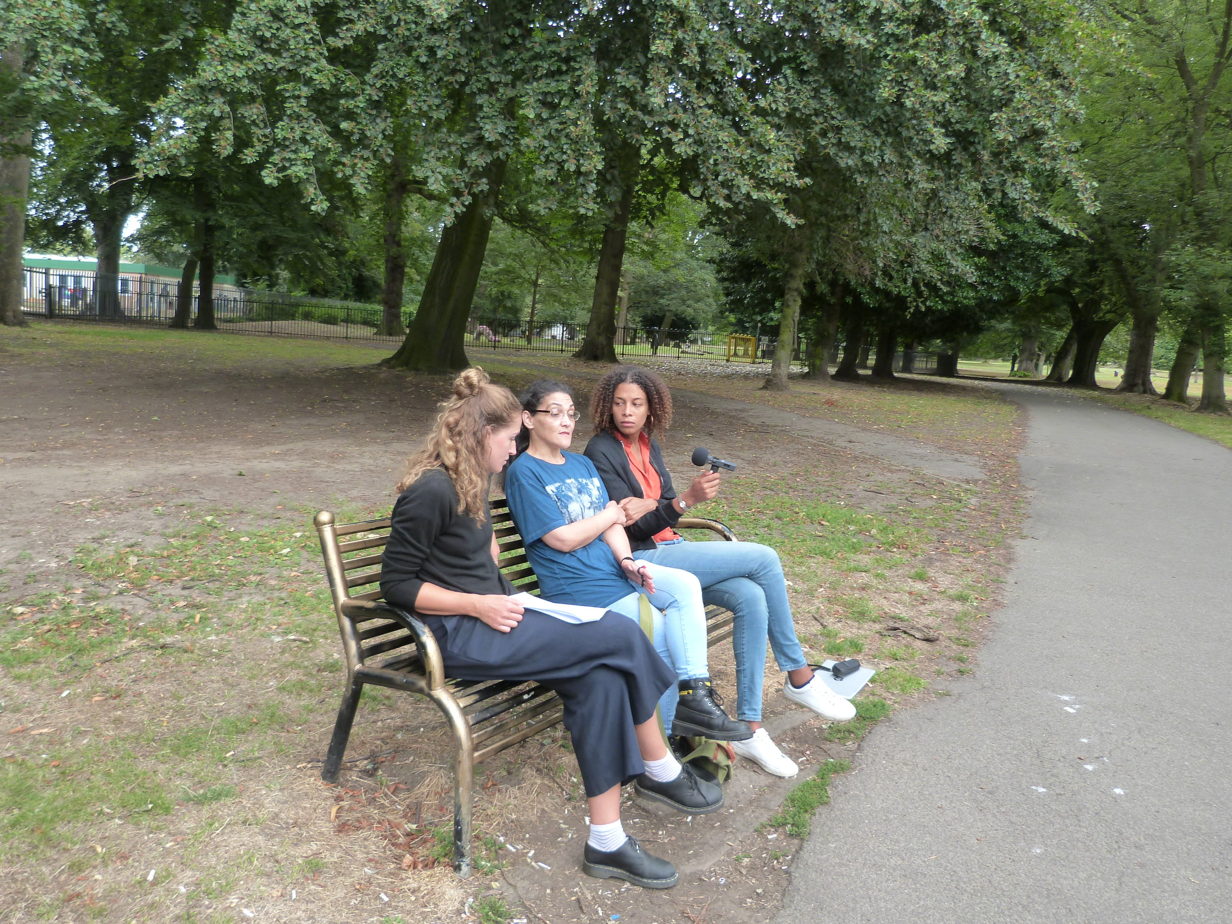May, Cookie and Naima recording in a park