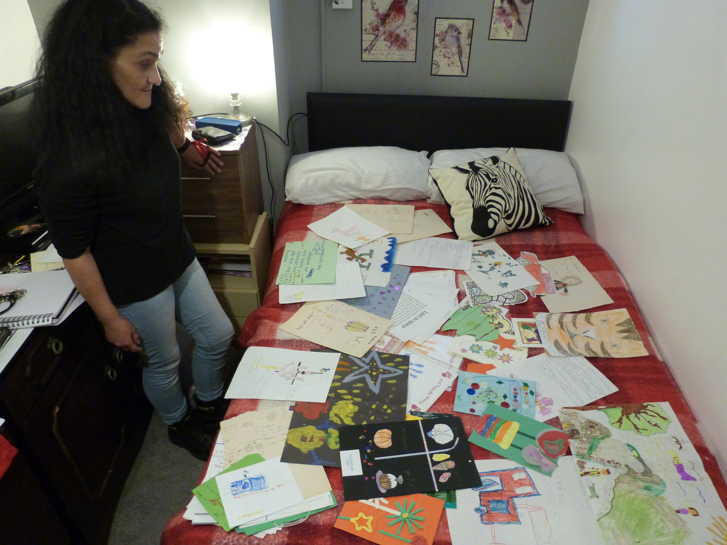 All the letters, cards and drawings Cookie received from her children and family while she was in prison